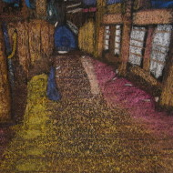 "Rainy Night on the Boardwalk  2014, Wax and Ink  ""This comes from a photo taken in Old Sacramento one drizzly evening when the water mixed with the oils on the boardwalk and brought up the colors I tried to recreate.  This is a heavily layered painting that also incorporates reduction."" ---T. Drotar"